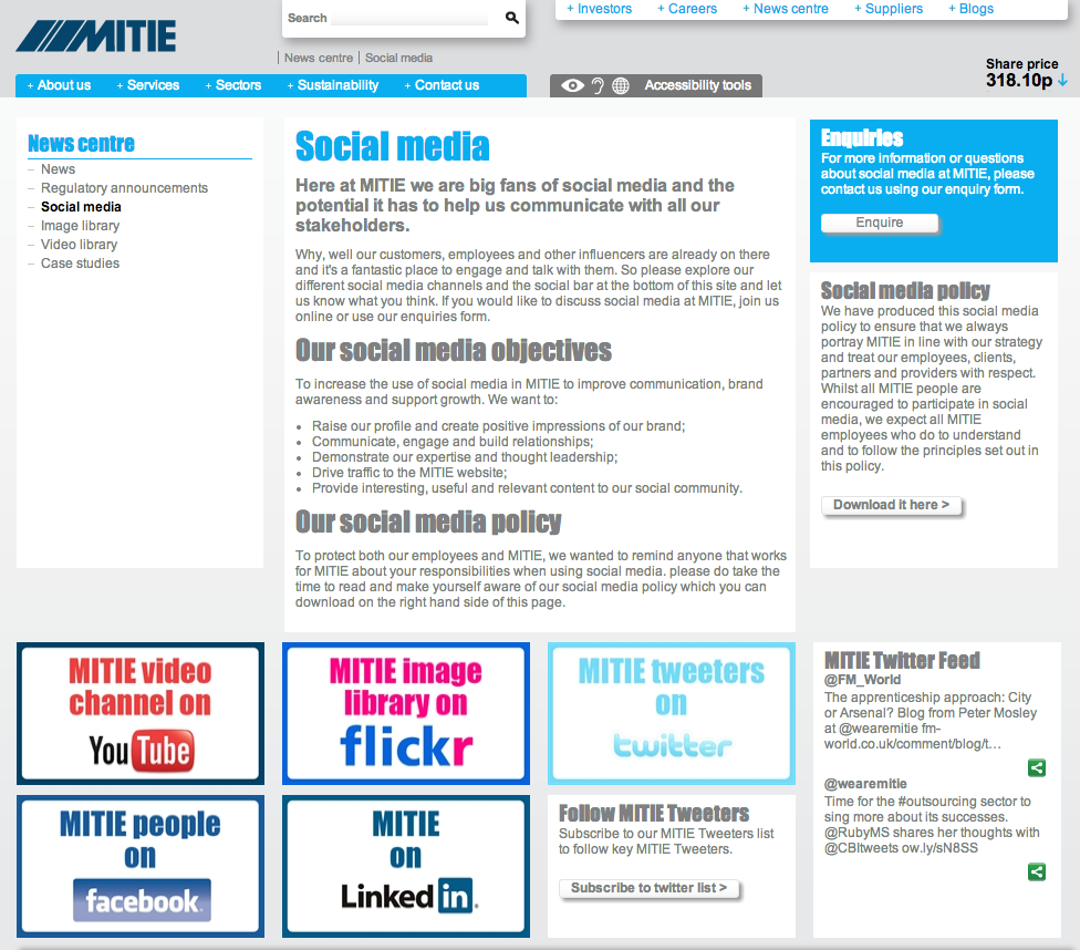 Mitie's Social Media Policy page - Lovely.